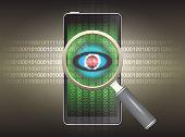 foto of virus scan  - Magnifier and virus data in phone with dark background - JPG