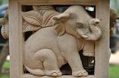 image of realism  - Elephant statues garden statue with a beautiful view of realism. ** Note: Soft Focus at 100%, best at smaller sizes - JPG