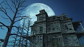 picture of moonlit  - A spooky old haunted house on a moonlit night  - JPG