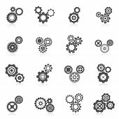 stock photo of mechanical engineering  - Cog wheel gear mechanic and engineering black icon set isolated vector illustration - JPG