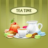 picture of sweet food  - Tea time poster with sweet food cookies macaron cup saucer pot vector illustration - JPG