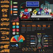 foto of lorries  - Cargo transportation infographics trucks lorry - JPG