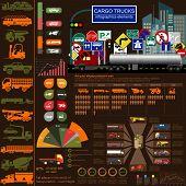 image of lorries  - Cargo transportation infographics trucks lorry - JPG