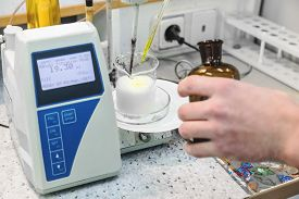 image of pharmaceuticals  - Laborant makes test in research laboratory with electronic measuring equipment on pharmaceutical industry manufacture or chemical plant - JPG