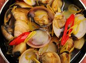 foto of clam  - herbal clam soup Vietnam style close up - JPG