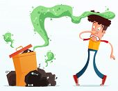 stock photo of annoying  - young man get annoyed because of stinky garbage - JPG