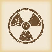 picture of hazard  - Grungy brown icon with radio hazard symbol - JPG