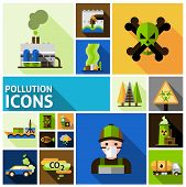 picture of toxic substance  - Pollution and environment toxic damage flat decorative icons set isolated vector illustration - JPG