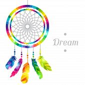 picture of dream-catcher  - Dream catcher with abstract bright transparent feathers - JPG