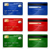 foto of plastic money  - Plastic bank credit card set in red blue and green design realistic isolated vector illustration - JPG