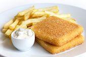 image of tartar  - Plate of golden fried cheese chips tartar sauce - JPG