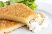 image of tartar  - Fried cheese cut melting tartar sauce salad - JPG