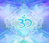 pic of om  - om aum symbol on blue abstract background  - JPG