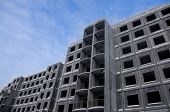 picture of reinforcing  - Unfinished building of reinforced concrete panels without windows - JPG