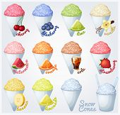 stock photo of flavor  - Set of snow cones with different flavors - JPG