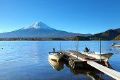 stock photo of jetties  - Mountain Fuji and jetty - JPG