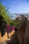 pic of stairway  - Stairway in Costa brava with view over sea and beach. ** Note: Shallow depth of field - JPG
