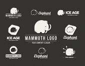 picture of mammoth  - Mammoth silhouette vector logo set - JPG