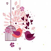 foto of caged  - Abstract image with hearts flowers cages and two love birds - JPG