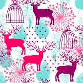 pic of caged  - Seamless background with deer cage and tracing leaves - JPG