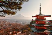 picture of kanto  - the Sunset at Chureito Pagoda  - JPG