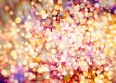 stock photo of golden  - Festive Background With Natural Bokeh And Bright Golden Lights - JPG