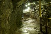 stock photo of copper  - under ground mining tunnel in a copper mine - JPG