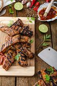stock photo of marinade  - Ribs in spicy marinade with chilli honey and beer - JPG