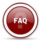 picture of faq  - faq red glossy web icon - JPG