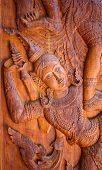 foto of carving  - Abstract wood carving art of in Thailand - JPG