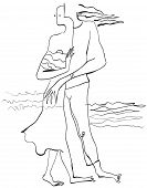 picture of lovers  - Lovers on the sea shore - JPG