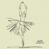 foto of ballerina  - art sketched beautiful young ballerina with long tutu in pose of dance with raised her hands - JPG