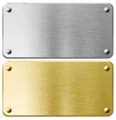 stock photo of plaque  - gold or brass metal plaque with rivets isolated - JPG