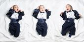 stock photo of scared baby  - Set of poses of cute upset infant baby boy wearing elegant tuxedo with bow tie - JPG