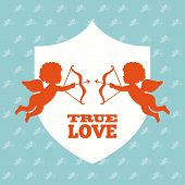 stock photo of cupid  - True love design with cupids over blue background - JPG