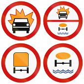 stock photo of dangerous  - Collection of Polish traffic signs prohibiting thoroughfare of vehicles carrying flammable goods dangerous goods or goods dangerous to water reserves - JPG