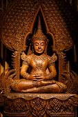 pic of carving  - Buddha carved wood at temple in Thailand - JPG