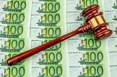 stock photo of bill-of-rights  - gavel and euro banknotes - JPG