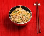 picture of rice noodles  - Vietnamese vermicelli chicken and rice noodles soup pho served on a bamboo place mat - JPG
