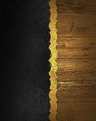 picture of nameplates  - Element of black texture with gold wooden nameplate - JPG