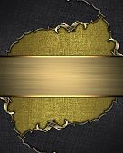 pic of gold  - Gold background with a black border with gold pattern and gold plate - JPG