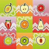 stock photo of cross-section  - Set Of Funny Fruit Cross Section - JPG