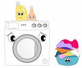 pic of washing-machine  - The afraid washing machine funny cartoon illustration - JPG