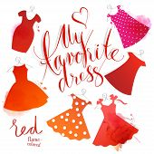 picture of mini dress  - Set of vector watercolor images - JPG
