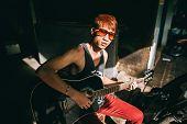 image of guitarists  - asian guitarist artist fashion man play guitar on street - JPG