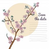 image of moon-flower  - Flowering cherry branch on background of moon with text - JPG