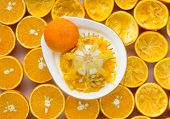 stock photo of juicer  - oranges and manual juicer on the table - JPG