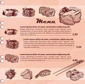 picture of sushi  - Template design of Sushi Menu with sketch of Japanese sushi and rolls around page - JPG