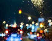 stock photo of raindrops  - Raindrops on windshield car - JPG