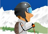 foto of snow capped mountains  - illustration of cartoon character of male skier standing amongst snow capped mountains - JPG